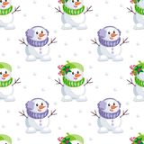 Cute little snowmen. Christmas seamless pattern with the image of snowmen in cartoon style. Vector colorful background Stock Photo