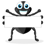 Cute little spider with blank sign Stock Images