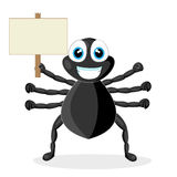 Cute little spider with wood sign Stock Image