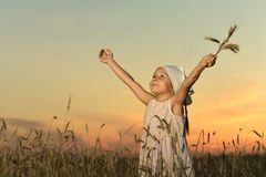Cute little standing girl Royalty Free Stock Image