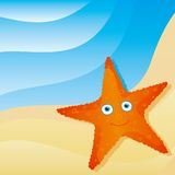 Cute little starfish. On the beach Stock Photography