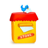 Cute little store yellow post box in cartoon style Royalty Free Stock Photos