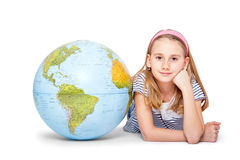 Cute little student girl with globe. School Education Concept Stock Photography