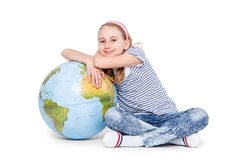 Cute little student girl with globe. School Education Concept Stock Images