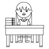 Cute little student girl sitting in schooldesk royalty free illustration