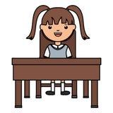Cute little student girl sitting in schooldesk vector illustration