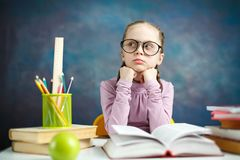 Cute Little Student Girl Study Photo Portrait stock photo