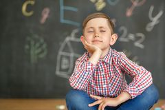 Cute little student sitting on the background of a school board royalty free stock images