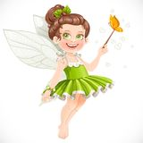 Cute little summer fairy girl with a Magic wand Royalty Free Stock Images