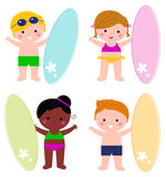 Cute little summer kids with surf set. Summer multicultural surfing kids. Vector illustration Royalty Free Stock Photos