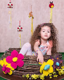 Cute little sweet girl in a Easter decoration at Home Stock Photo
