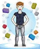 Cute little teenager boy standing in stylish casual clothes.   Royalty Free Stock Photos