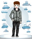 Cute little teenager boy standing wearing fashionable casual clo. Thes. Vector character. Fashion theme clipart Stock Photo