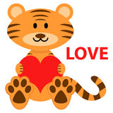 Cute little tiger in love Royalty Free Stock Photography