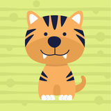 Cute little tiger soft color kids t shirt design and poster Royalty Free Stock Photography