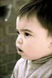 A Cute Little Toddler!. A cute little boy standing in front of a brick wall stock photography