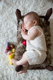 Cute little toddler baby boy, sleeping with colorful easter eggs. And little decorative ducks,  shot, beige background Stock Images