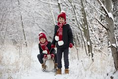 Cute little toddler boy and his older brothers, playing outdoors with snow on a winter day. Snowing stock photography
