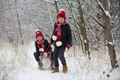 Cute little toddler boy and his older brothers, playing outdoors with snow on a winter day. Snowing royalty free stock image