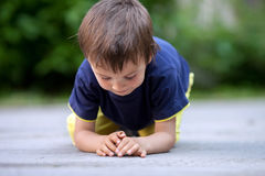 Cute little toddler boy, playing with ladybird Royalty Free Stock Photography