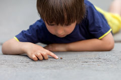 Cute little toddler boy, playing with ladybird Royalty Free Stock Photo