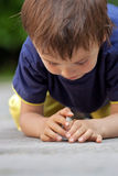 Cute little toddler boy, playing with ladybird Royalty Free Stock Images