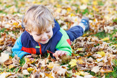 Cute little toddler child having fun with autumn foliage Stock Photography