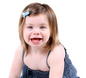 Cute little toddler girl. Portrait isolated on white Stock Photography