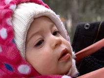 Cute little toddler girl in beautiful warm hat Royalty Free Stock Photography