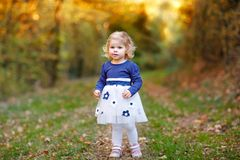Cute little toddler girl making a walk through autumn park. Happy healthy baby enjoying walking with parents. Sunny warm. Fall day with child. Active leisure stock image