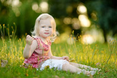 Cute little toddler girl sitting on the grass Royalty Free Stock Images