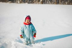 Cute little toddler girl in winter nature. Cute little toddler girl play dig in winter nature stock image