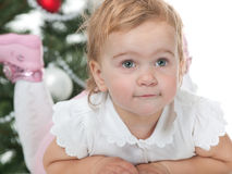 Cute little toddler at new year tree Royalty Free Stock Photos