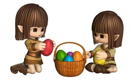 Cute Toon Easter Elves with Basket of Eggs Royalty Free Stock Photos