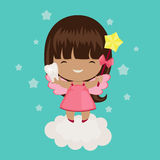 Cute little tooth fairy on a cloud. Holds a tooth and wand Stock Photo