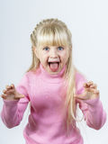 Cute little towhead girl bawling out Stock Image