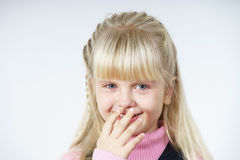 Cute little towhead girl crying royalty free stock photos
