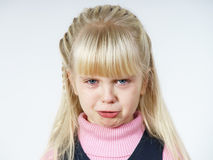 Cute little towhead girl crying stock image