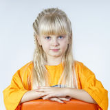Cute little towhead girl royalty free stock image
