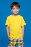 Cute little Ukrainian boy in yellow shirt Royalty Free Stock Photography