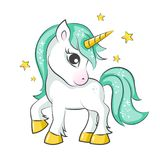 Cute little unicorn. Cute magical unicorn. Vector design on white background. Print for t-shirt or sticker. Romantic hand drawing illustration for children Royalty Free Stock Photography