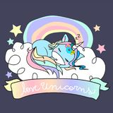 Love unicorns inscription on rainbow ribbon with baby blue unicorn sleeping on a cloud with a rainbow on background vector illustration