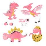 Cute little watercolor dinosaurs vector set vector illustration