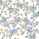 cute little watercolor flowers seamless pattern. Royalty Free Stock Images