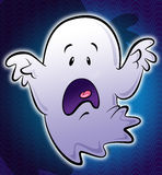 Cute little white scary cartoon ghost illustration in blue backg Royalty Free Stock Photography