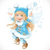 Cute little winter fairy girl in blue coat with a Magic wand Royalty Free Stock Images