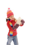 Cute little winter girl with snowflake Stock Images