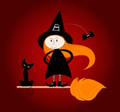 Cute little witch. Illustration of a cute little witch Stock Image