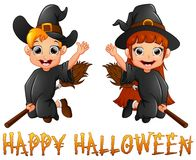 Cute little witch boy and girl flying on broomstick Stock Photo