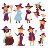 Cute little witch with broom cartoon cat for print on bag magic halloween card and fantasy young girls character in Stock Images